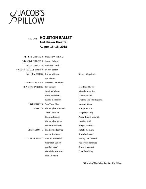 Houston Ballet Program 2018