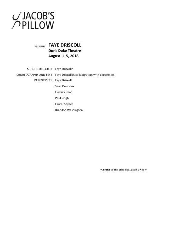Faye Driscoll Program 2018