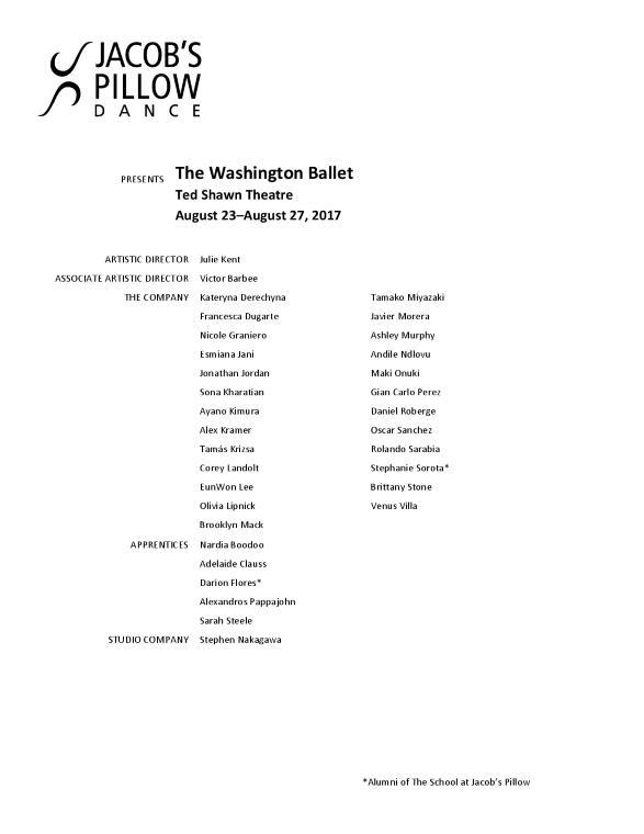The Washington Ballet Program 2017