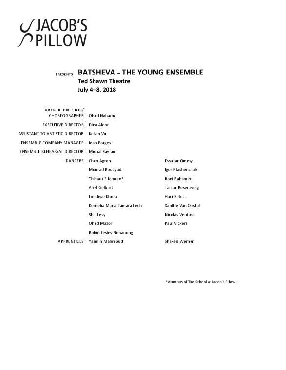 Batsheva - The Young Ensemble Program 2018