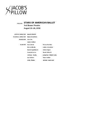 Stars of American Ballet Program 2018