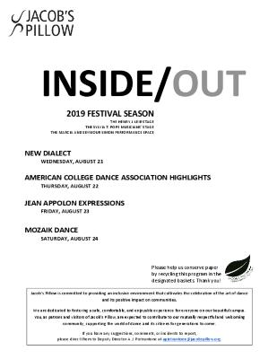 Inside/Out Performance Program Week 10 2019