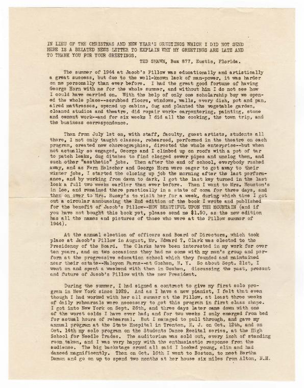 Ted Shawn First Annual Newsletter Covering 1944