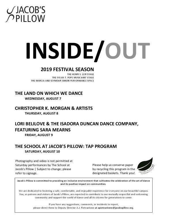 Inside/Out Performance Program Week 8 2019