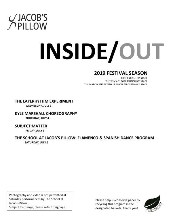 Inside/Out Performance Program Week 3 2019