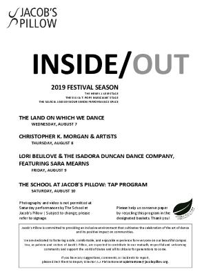Inside/Out Performance Program Week 8 2019