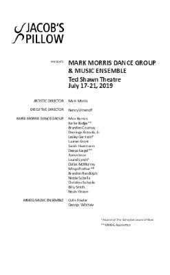 Mark Morris Dance Group & Music Ensemble Program 2019