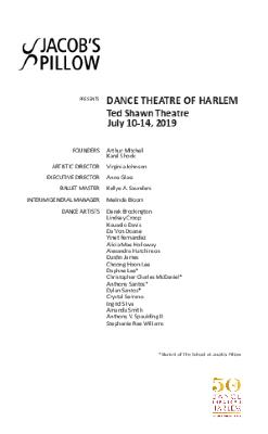 Dance Theatre of Harlem Program 2019