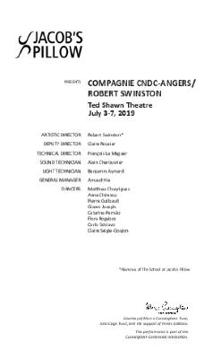 Compagnie CNDC-Angers/Robert Swinston Program 2019
