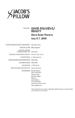David Roussève/REALITY Program 2019