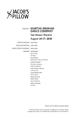 Martha Graham Dance Company Program 2019