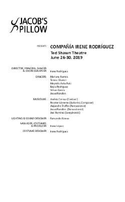 Compañía Irene Rodríguez Program 2019