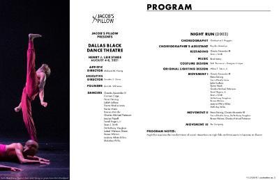 Dallas Black Dance Theatre Program 2021